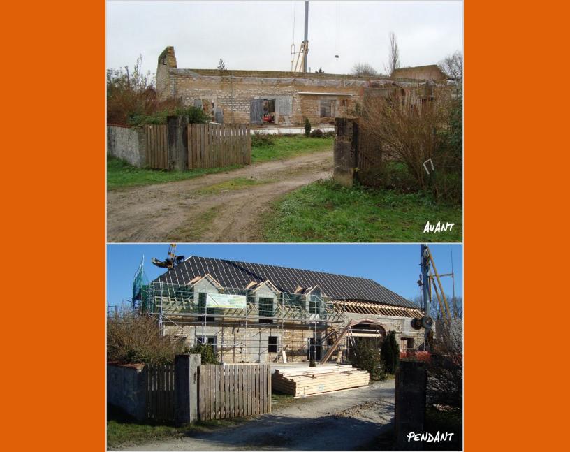 Rénovation de ferme avant / pendant les travaux
